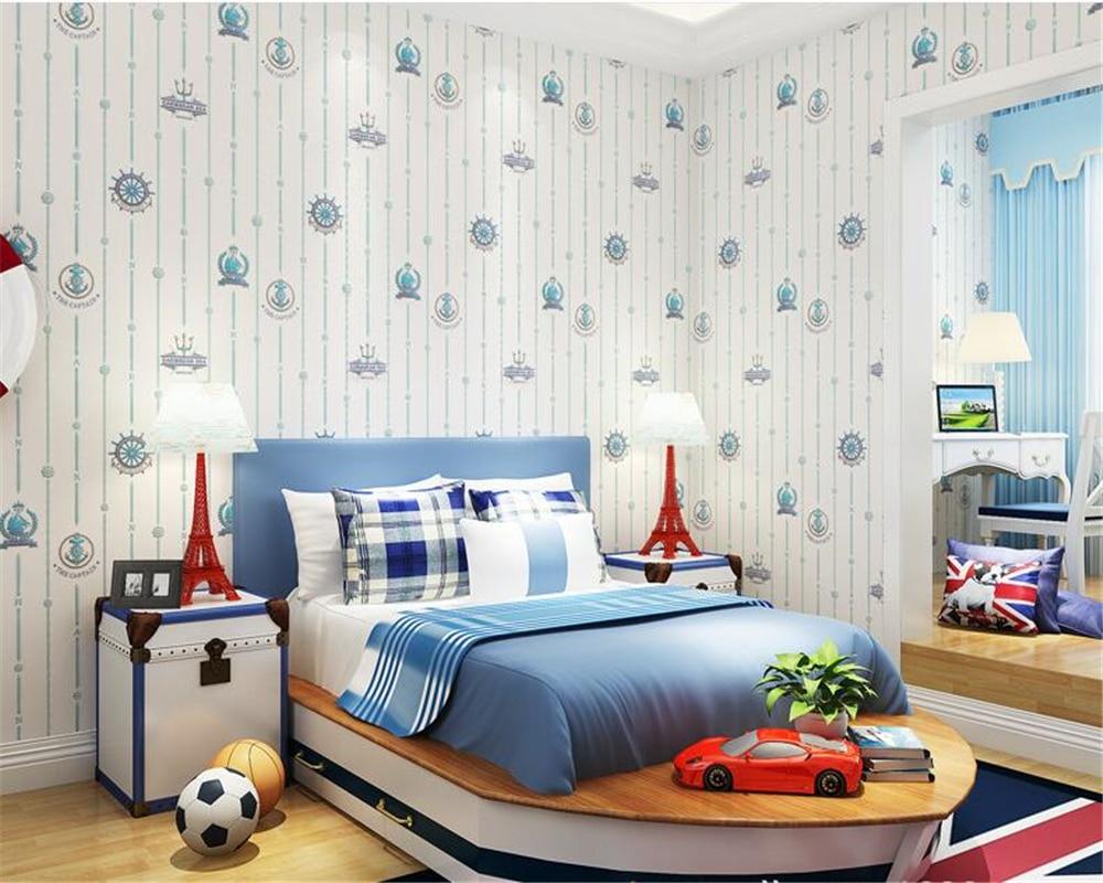 Beibehang Moderne de mode chambre papel de parede 3d papier peint garçon Britannique style bleu Méditerranée bande verticale non-tissé