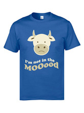 Cute Moody Cow T-Shirt Print Slim Fit Mens Tshirts 90s Cartoon Personalized Tosp T Shirts Pure Cotton Clothing Tee-Shirts Men