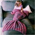Cobertor de lã de malha de Cauda de Sereia Handmade crianças sereia Throw blanket Envoltório Cama super macio crianças swaddle saco de dormir cobertor