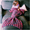 wool knitted Mermaid Tail blanket Handmade children mermaid blanket Throw Bed Wrap super soft children swaddle sleeping blanket