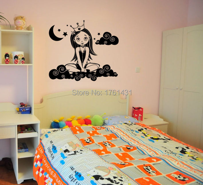 Cloud Princess wall sticker home decoration wall art decals quote ...