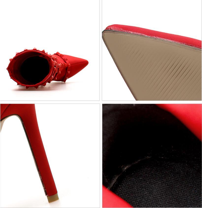 De red Taille Femmes Chaussures La Mode Bottes Cheville Haute Chaishou Rivets Black Plus Nouvelles Sexy 2018 Talons Pointu Moto wBqtUt