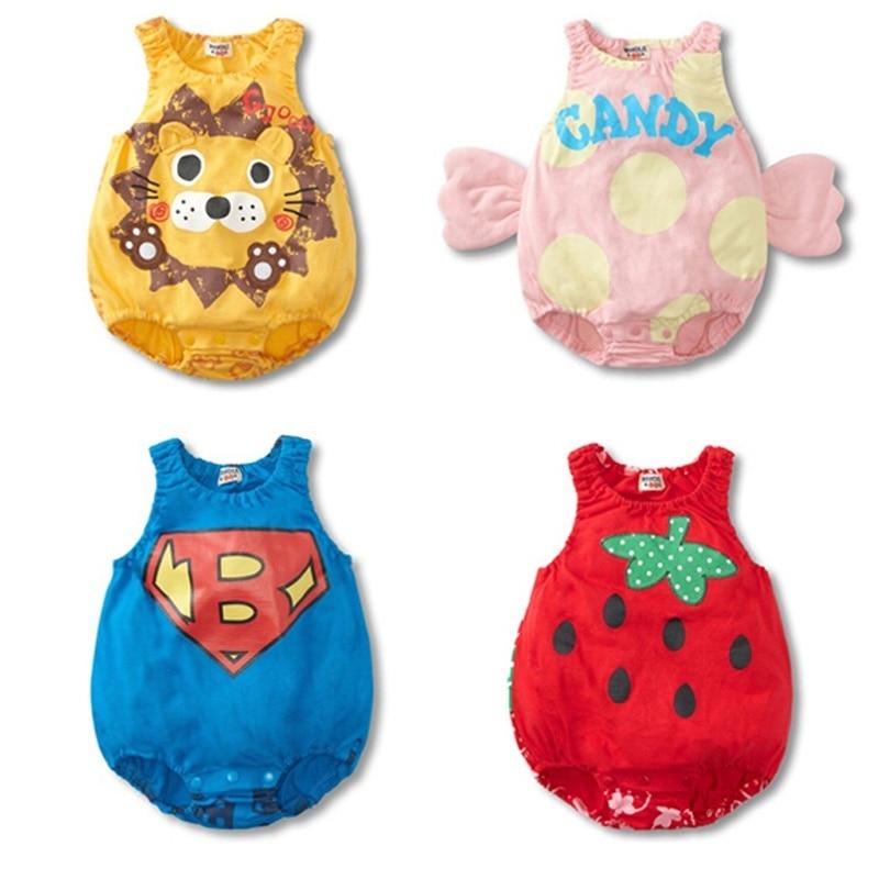Superman Lion Strawberry Candy 6-24 Months Baby Sleeveless Romper Jumpsuit Onesie