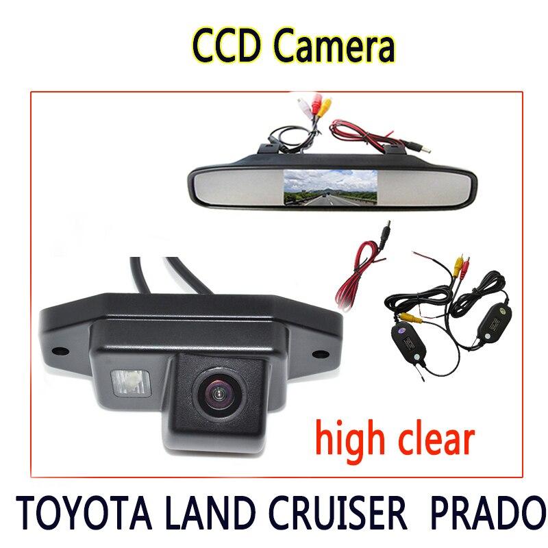 Moniteur de stationnement système de stationnement caméra de recul CCD + HD 4.3 pouces moniteur de rétroviseur de voiture pour TOYOTA LAND CRUISER PRADO 2700 4000