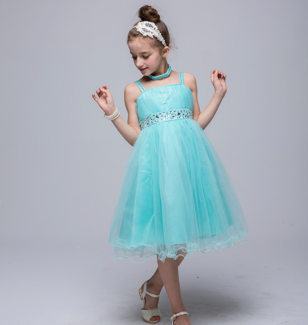 Girls Strap Princess Dresses Big Child Wedding Dress Prom Birthday ...