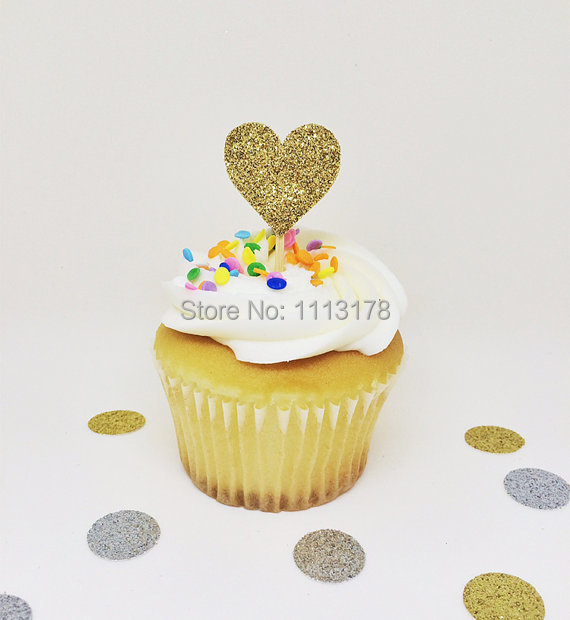 gold glitter heart cupcake toppers bridal shower cupcake toppers wedding cupcake toppers wedding engagement in cake decorating supplies from home garden