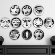 Piero Fornasetti Decorative Plates Dishes 8 Inch Face Wall for Hanging Porcelain 9 Pieces