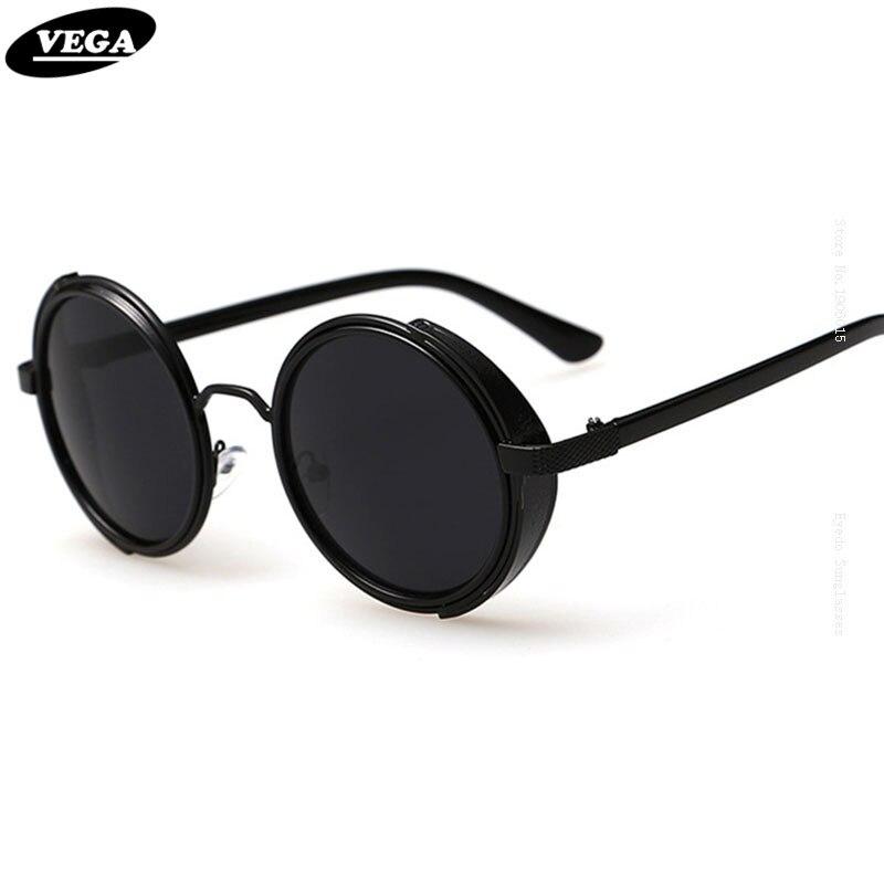 8b0fa7a5e35 VEGA 80s 90s Steampunk Sunglasses Men Women Unique Circle Hippie Sunglasses  Gothic Hipster Glasses Vintage Spectacles 3064