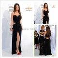 Sexy negro Halter Criss-Cross alta dividir mujeres de la alfombra roja vestidos de la celebridad del vestido largo vestidos de noche