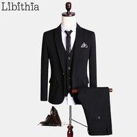 (Jacket+Pant+Vest) Luxury Black Suits Men High Quality Fashion Brand Formal Blazer Costume Homme Wedding Dress Big Size 5XL S154