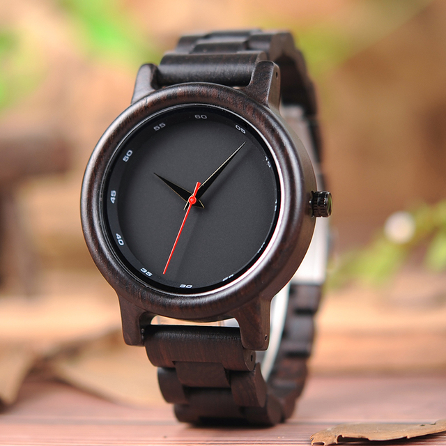BOBO BIRD Wood Watch Men Sport Style Ebony Quartz Movement Wristwatch Relogio Ma