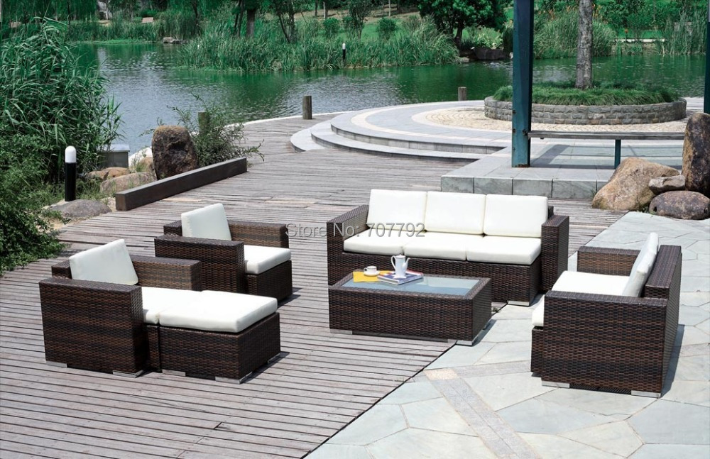 2017 New Product Outdoor Garden Poly Rattan Furniture 6 Pieces Sofa Set
