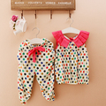 2016 Kids Baby Girls summer clothes set 2pcs suit Dot Print Tops and Cropped Trousers sleeveless children's clothing sets