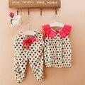 2016 niños niñas bebés ropa del verano 2 unids traje Dot Print Tops y pantalones cosechados sin mangas conjuntos de ropa para niños