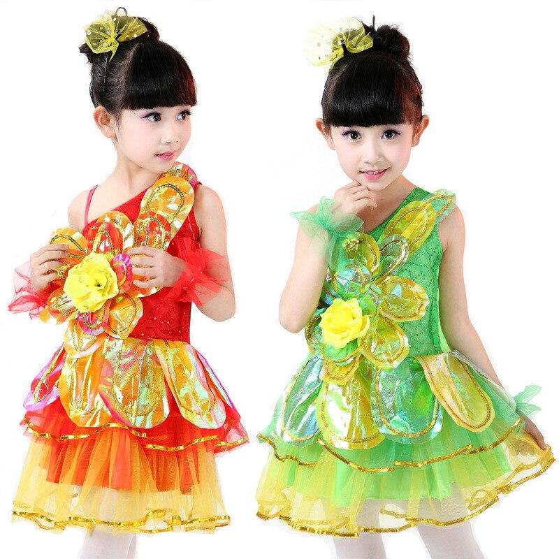 5ピース/ロット送料無料キッズ女の子標準ダンスドレス子供サマーダンス服ステージ社交衣装