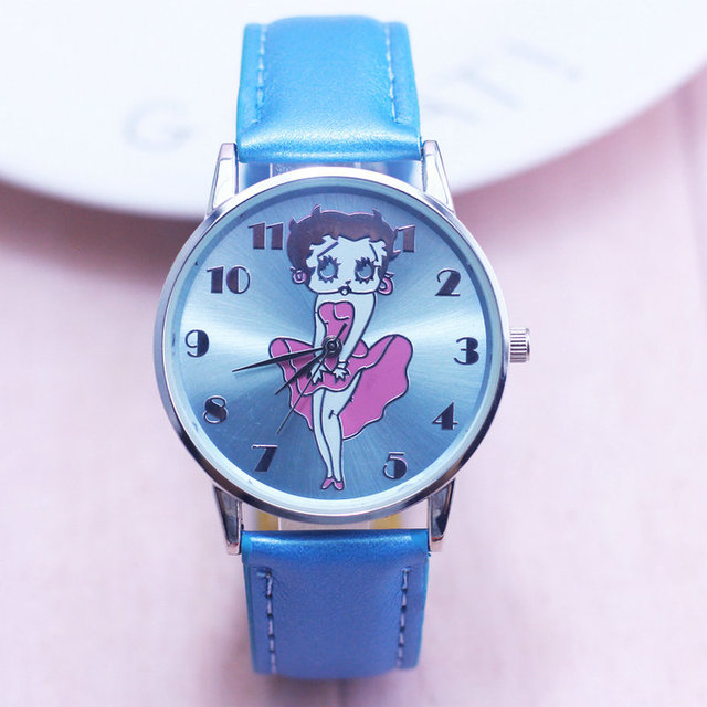 New Arrival Fashion Cute Betty Quartz Leather Band Women Watch Ladies Kids Gift Casual Wristwatches