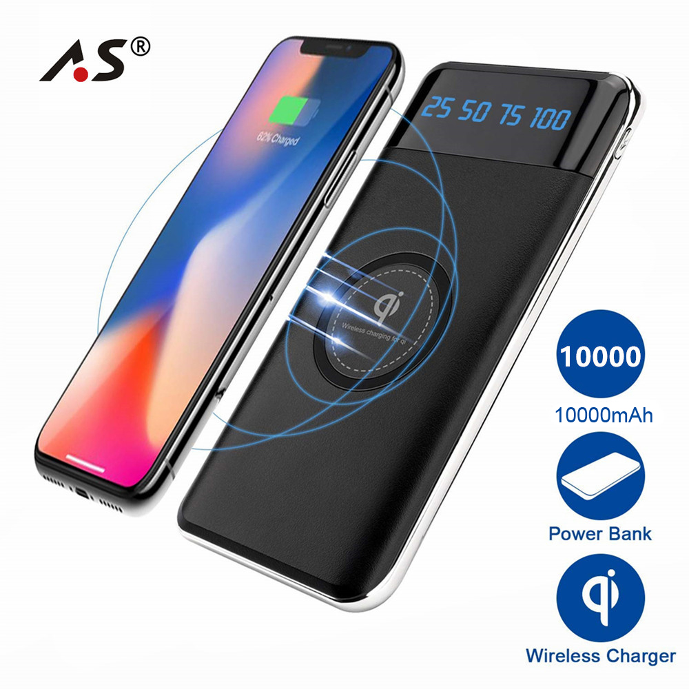 A.S 10000mAh QI Wireless Charger Power Bank For iPhone Samsung Powerbank Dual USB usb battery bank charger
