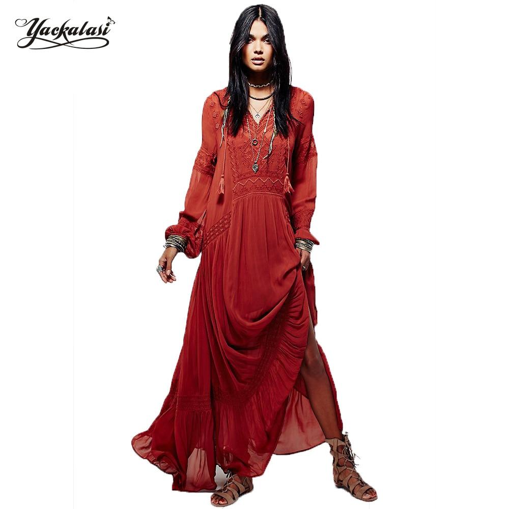 Yackalasi mujeres vestidos vestidos femininos bohemia señoras elegantes de la ve