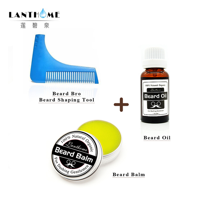 Lanthome Beard Oil Men Moustache Wax Balm Beard Care Trimmer Comb Bro Beard Shaping Aftershave for Men Moisturizing Hair Product