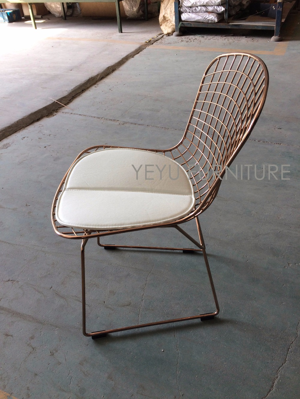 Rose Gold Color Bertoia Wire Chair Modern Classic Wire Bertoia Chair Harry  Bertoia Steel Wire Side Chair Loft Cafe Chair In Dining Chairs From  Furniture On ...