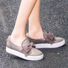 Women's Platform Flats Moccasins Genuine Leather Sweet Bowtie Ladies Cute Leisure Espadrilles Shoes Women Brand Designer Loafers