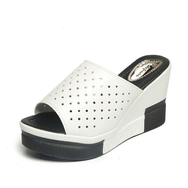 Aphixta الصيف النساء صنادل أرضية جديدة انقسام الجلود صندل كعب عالٍ النعال أحذية امرأة الموضة 2
