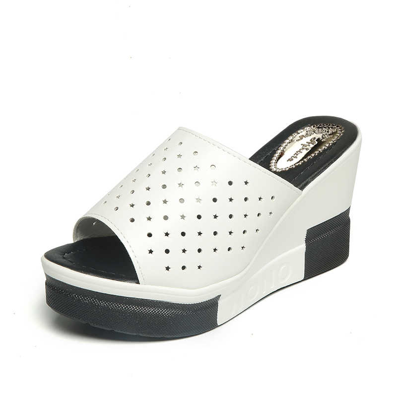 846753acf8 ... Aphixta Summer Slides Women Wedge Slippers New Platform Sandals Split  Leather High Heels Sandals Slipper Fashion ...