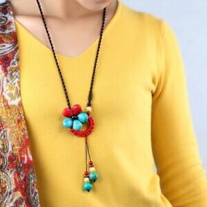Handmade boho étnico cuerda piedra turquesa flor colgante largo collar/collar largo/colar collier comprido/bijoux/joyas/atacado