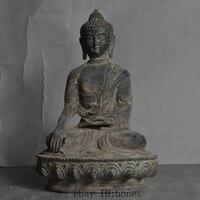 Old antique Tibet buddhism fane Pure bronze sakyamuni Shakyamuni Amitabha Buddha statue