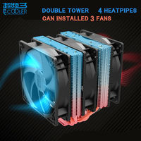 Pccooler S102 Doble soporte de la Torre de 3 pines PWM del ventilador ventilador 4 heatpipes de cobre puro radiador ventilador silencioso ventilador de refrigeración de la CPu cooler Intel/AMD