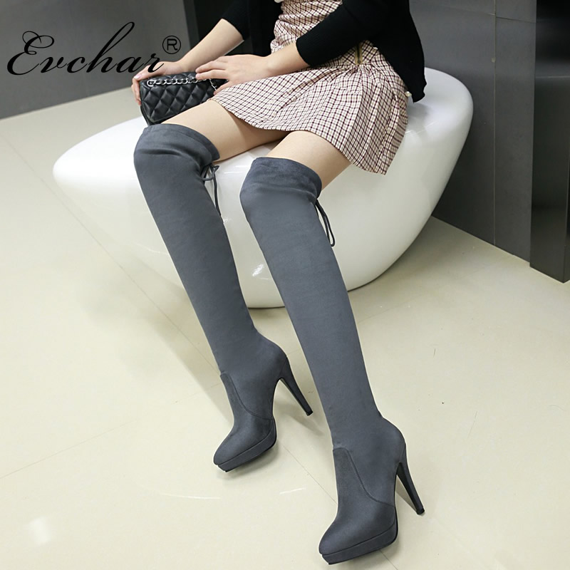 EVCHAR NEw Womens Thigh High Boots Stilettos Sexy Over the Knee Boots Pointy Toe High Heel Long lace-up Boots big size 32-43