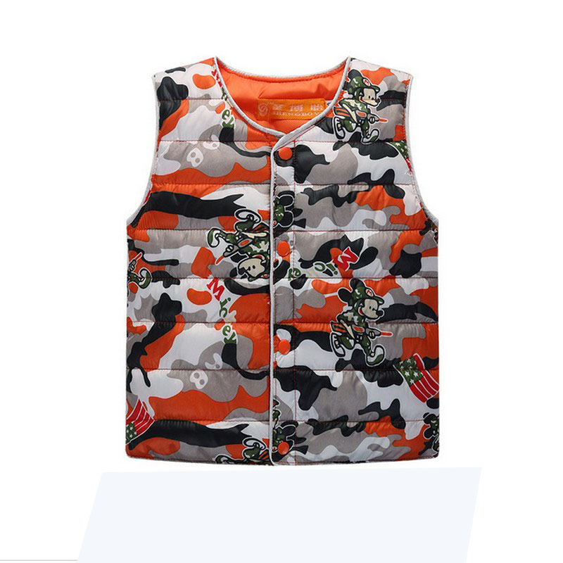Wholesale Autumn Winter Children's Vest 2016 New Cartoon Printed Vest Thick Warm Boys Jacket Single Breasted Baby Soft Waistcoat