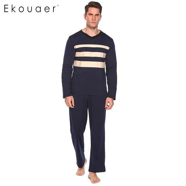 Ekouaer хлопок Для мужчин пижамы комплект пижамы v-образным вырезом свободные Рубашка в полоску длинные штаны комплект пижамы Повседневное мужской пижамы Домашняя одежда