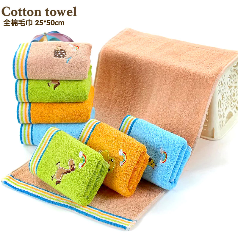 100% cotton Authentic sweet candy colored Absorbent Dry Towel baby towel super soft cotton kid child towel wipe sweat 2 pieces