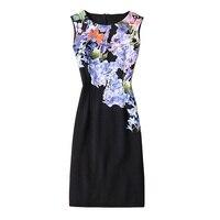 Plus Size Women Clothing 2017 Spring Fall Fashion Flower Print Women Dress Ladies Sleeveless Tank Casual
