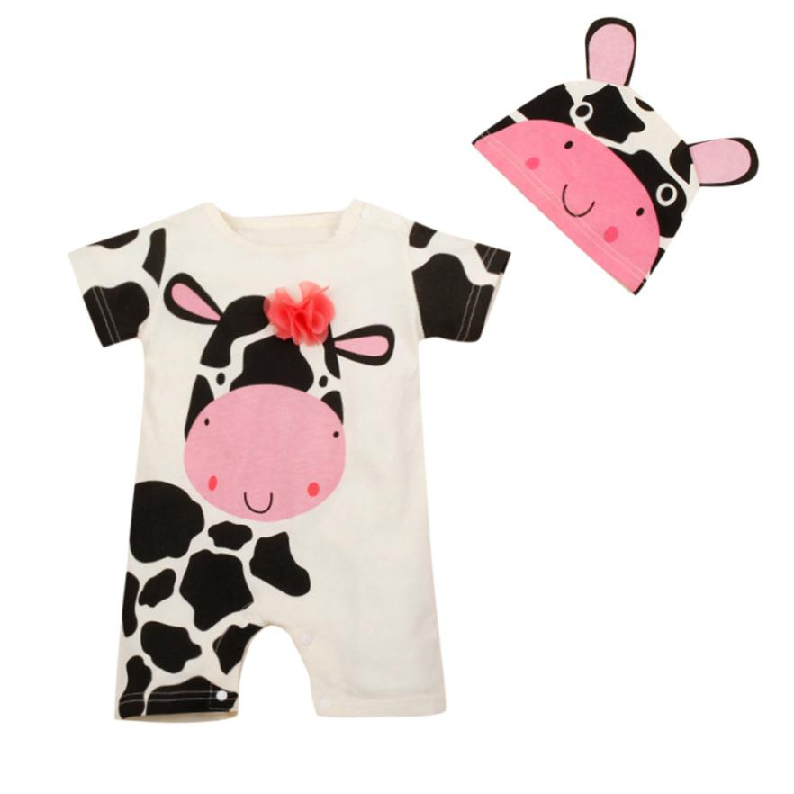 2018 Hot Sale 2PC Kids Baby Boy&Girl Cow Print Short Sleeve Romper Playsuit+Cow Print Hats Set Comfortable And Breathable 6.5