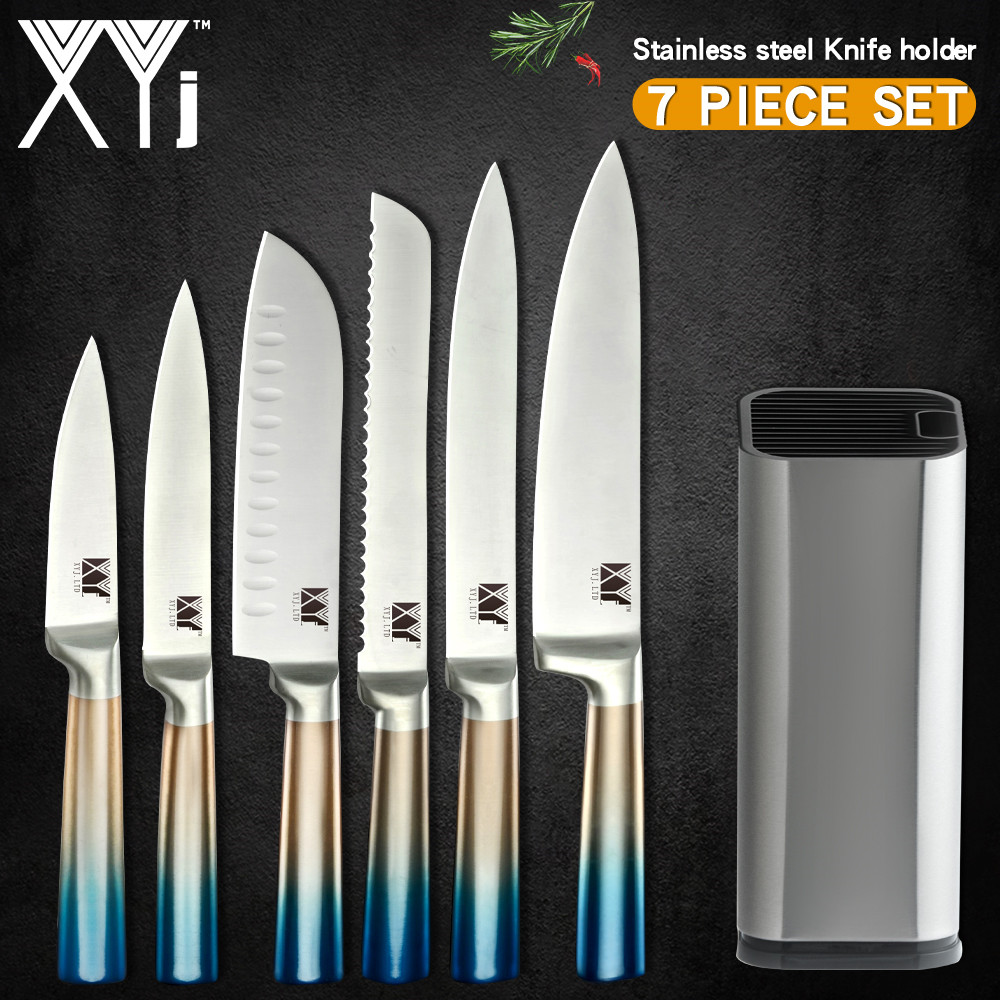 XYj 7pcs In Acciaio Inox Coltelli Da Cucina Set Gradiente Maniglia 7cr17 Lama Affilata Da Cucina Chef Coltelli 8 ''Coltello Titolare strumenti di