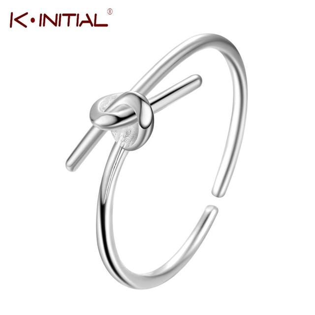Kinitial Open Silver Knot Rings For Women Charm Purity Love Engagement Ring  Couples Promise Jewelry 632a8c904
