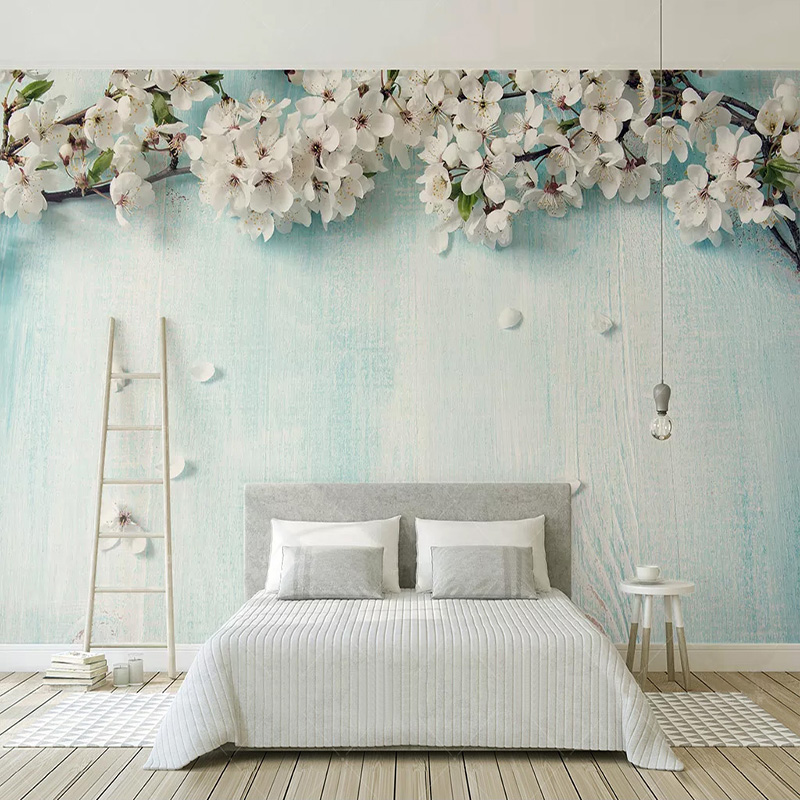 Custom Any Size Mural Wallpaper 3D Blue Wood Grain Cherry Blossom Photo Wall Painting Living Room Bedroom Romantic 3D Home Decor