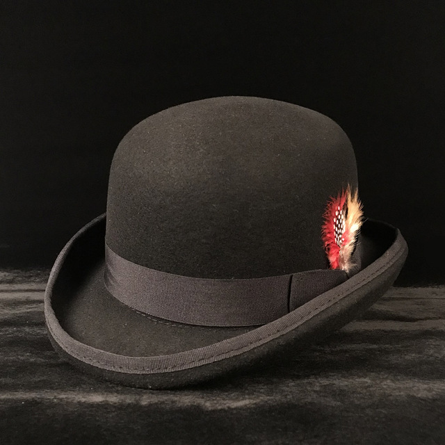 Tradition 100% Wool Women s Men s Black Felt Bowler Hat Gentleman Crushable  Dress Tuxedo Derby Costume 27be1a01aaf