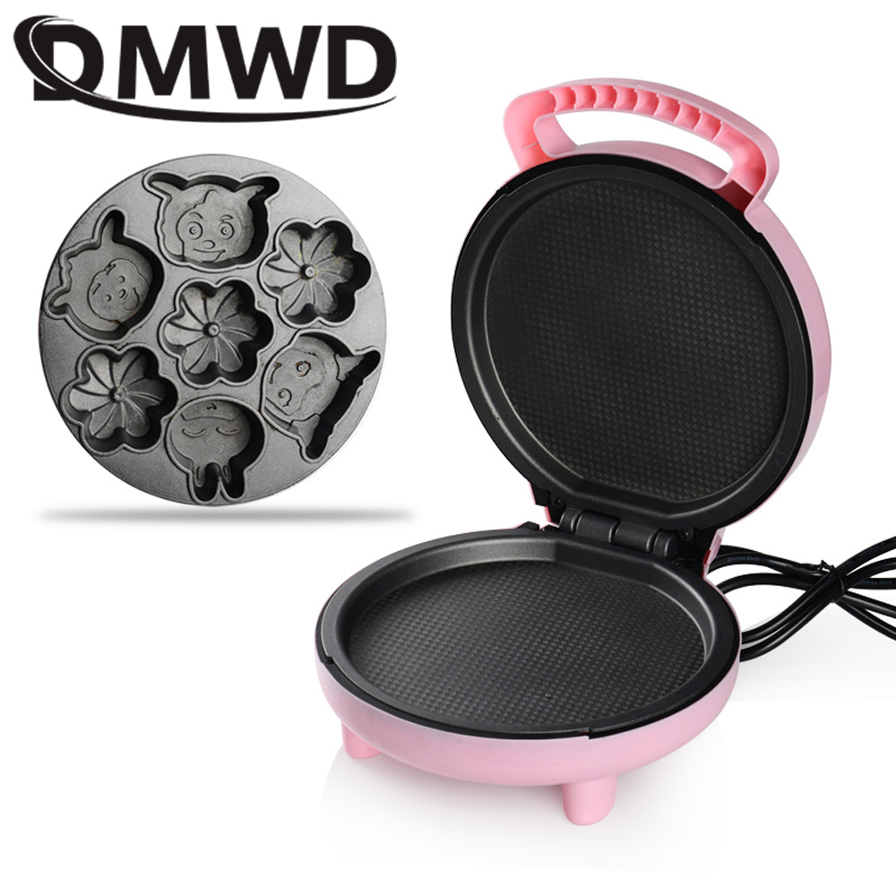 цена DMWD Cartoon Waffle Maker Muffin Pancake Automatic Mini Baked Pizza Cooker Cake Machine Multifunction baking breakfast pan EU US