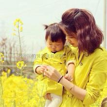 Classic children's parent-child clothing double breasted trench yellow baby 100% medium-long cotton spring and autumn outerwear