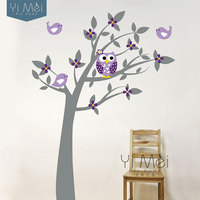 2015 Owl Wall Sticker Tree Vinyl Childrens Wall Art Decals For Baby Room Wallpaper 150 200CM