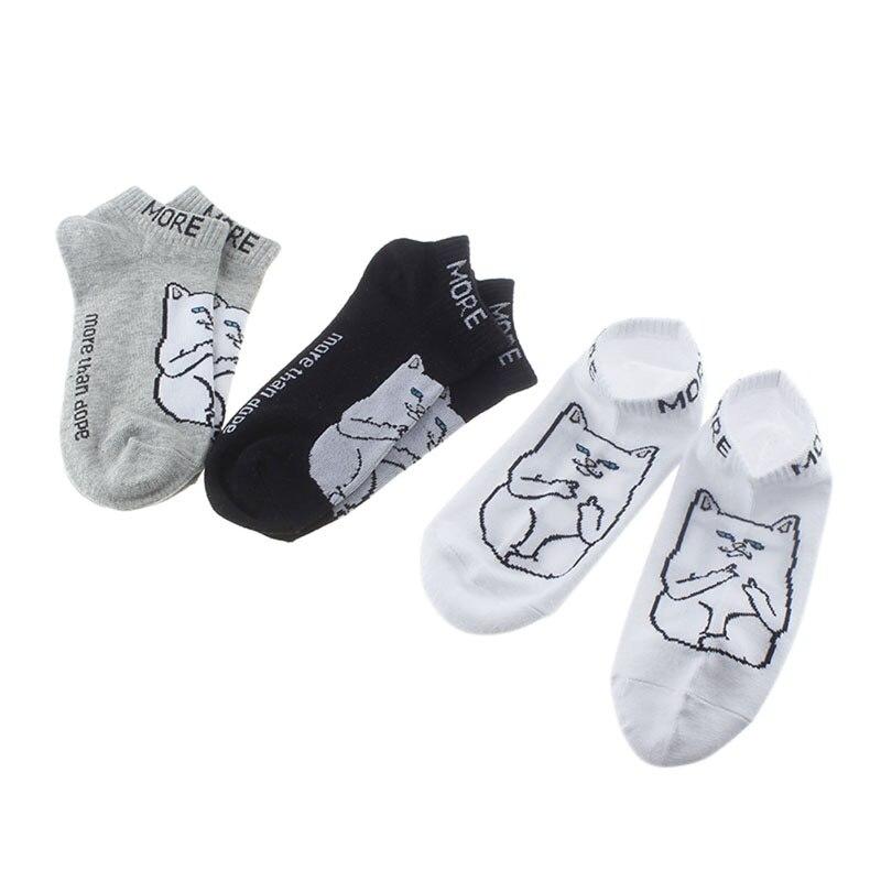 Spring Autumn Cartoon Cheap Cat Pattern Shallow Mouth Thin Cotton Socks White/Gray/Black