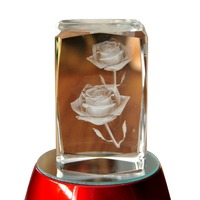 Paperweight 3D Laser Etched Crystal Crafts Rose Flower Figure Display Light Base Decor Home Decor Holiday