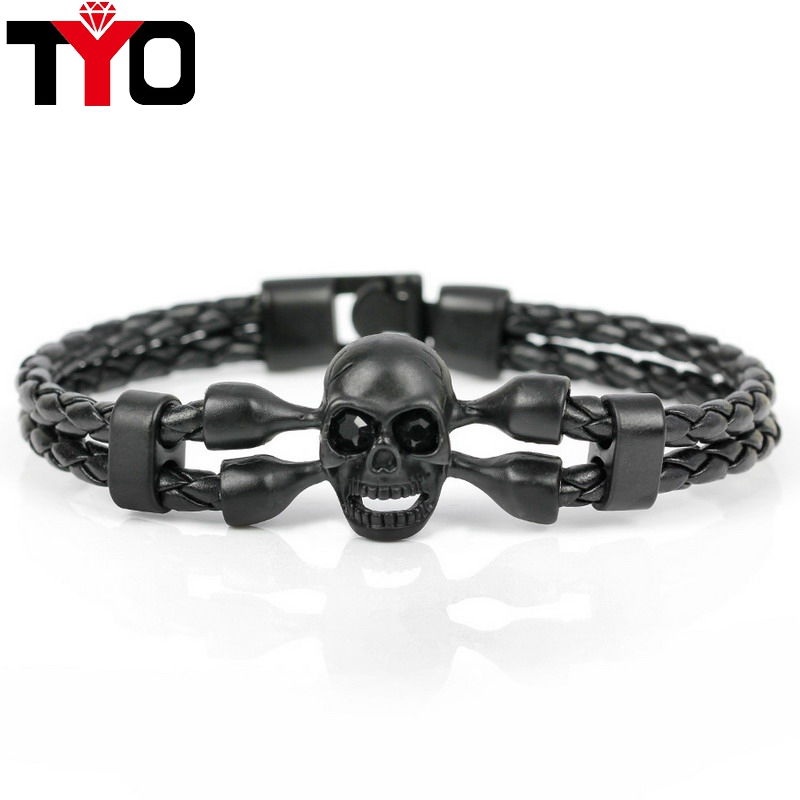 2017 New Fashion Pop Skull Bracelets For Men High Quality Leather Bracelets Popular Knighthood Friendship Charm Bracelets.