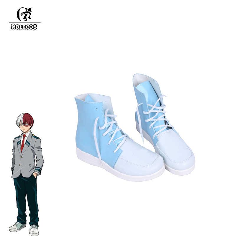 ROLECOS アニメ私のヒーロー学界コスプレ靴轟 Shoto コスプレ学校青と白のスポーツの靴コスプレ靴