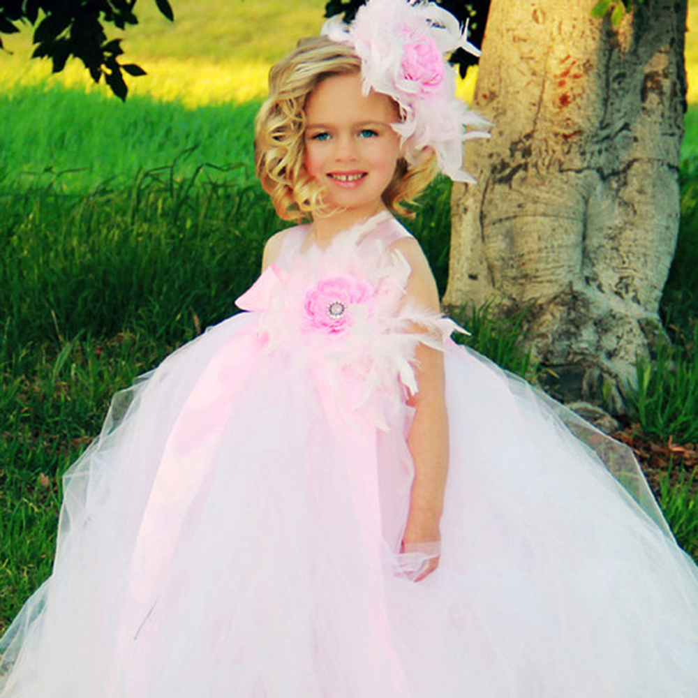 Baby Kids Girls Party Dress Girls Floral Feather Plume Dress Baby Girls Christening Tutu Dress Christmas Carnival Tutu Dresses sweet lovely rhinestone feather plume unusual angel girls baby headband white