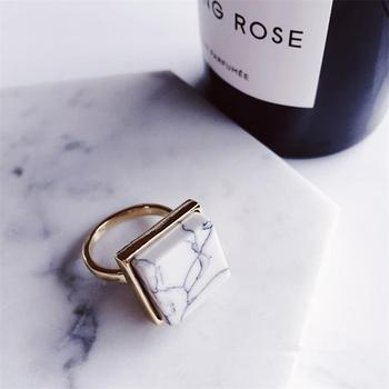 Boho Style Marble Rings Jewelry Rings Women Jewelry Main Stone Color: Square