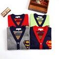 Мода Мальчики Свитера Осенью и Зимой Дети Супермен V воротник Верхняя Одежда Двойной Толщиной Хлопка Вязать Свитер Ребенка Кардиган Куртки